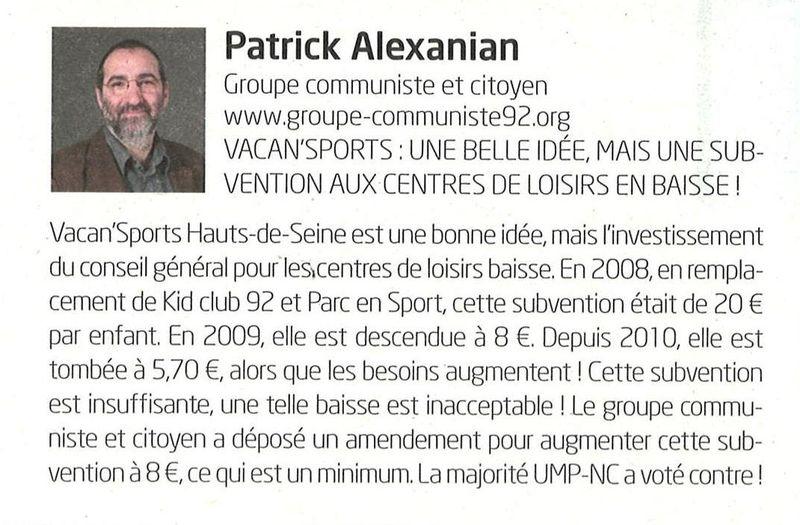 Article lettre bleue du CG juillet-août 2012